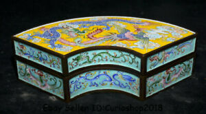 "8.2"" Old China Cloisonne Enamel Copper Dynasty Dragon Phoenix ink box cartridge"