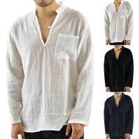 Men Vintage Long Sleeve Thin V-neck Solid Top Loose Chest Pocket T Shirt Blouses