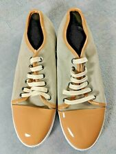 LANVIN FANTASTIC IVORY-BEIGE LEATHER SUEDE RUBBER SOLE SHOES NEW BOX ITALY #1