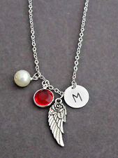 Silver Pewter Angel Wing Charm Memorial Necklace,Rememberance Necklace Jewelry