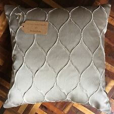 "New 16""x16"" cushion cover Next beige satin fabric zip fastening made in UK"