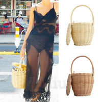 Womens Woven Straw Handbags Wicker Bag With Lid 100% Handmade Bamboo Basket Bag