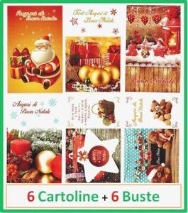 6 biglietti set di per auguri natale feste cartoline natalizie con busta addobbi