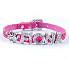 Bling Personalized Leather Puppy Cat Dog Collars Customized Name&Charm XXS XS