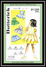 APRON PINAFORES RARE Girls Toddlers BUTTERICK 2129 Sew Fabric Pattern SZ 1