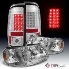 For 97-03 F150, 97-99 F250LD Chrome Headlights Set + LED Tail Lights LED Signal
