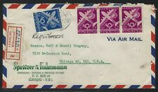 1949 Netherlands Antilles Registered Commercial Air Mail Cover to Chicago
