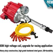 Red HEI Distributor Chevy SBC 350 BBC 454 & Spark Plug Wires Ignition Combo Kit