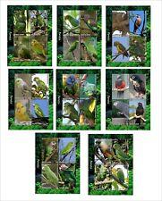 2012 PARROTS BIRDS 8 SOUVENIR SHEETS MNH UNPERFORATED 2X2