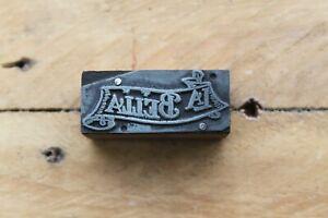 Vintage La Bella Printing Block/Letterpress Stamp - Scroll