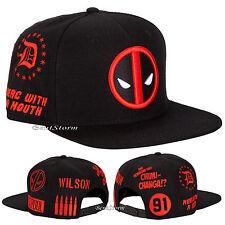 MARVEL DEADPOOL Allover Embroidered Logo Symbol SNAPBACK BALL HAT CAP FLAT BILL