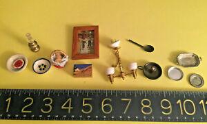 DOLLHOUSE antique/vintage miniatures:lighting, dishes, food basket, metalware+
