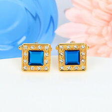 Blue Crystal Gold Square Mens Wedding Party shirt Cufflinks Cuff Links Gift
