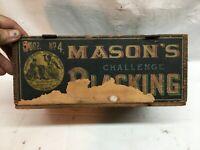 Vintage Boot Polish Blacking Masons Brand Wood Crate Box General Store Box