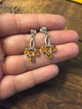 Amber Earrings Sterling Silver Dangle Drop Vintage Jewelry