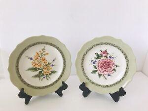 "2 Princess House Vintage Garden Luncheon Salad Plates 9"" Snapdragon Peony EUC"