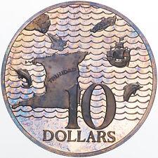 1978 TRINIDAD AND TOBAGO 10 DOLLARS SILVER PROOF COLOR TONED UNC BU SUPERB (MR)
