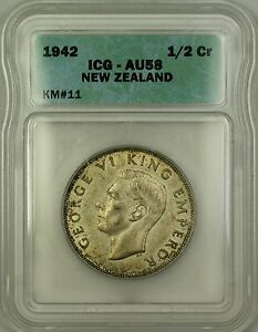1942 New Zealand 1/2 Crown Silver Coin ICG AU-58
