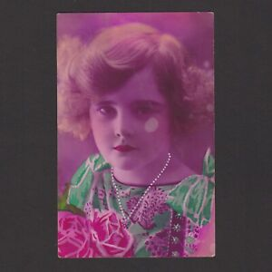 Vintage color postcard, Young girl with flowers, Posted in 1928 Belgium