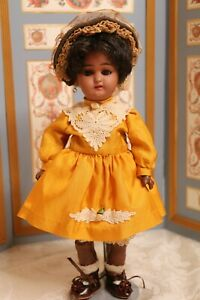 Antique Simon & Halbig 1079 German Bisque doll 10 1/2 IN Antique Doll Silk Dress