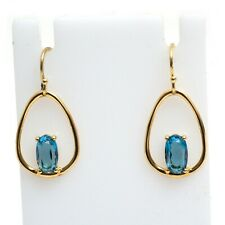 New IPPOLITA 18K Rock Candy Small Wire Earrings with One Oval in Blue Topaz NWT