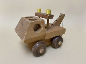 Vintage The Montgomery Schoolhouse RARE Wooden Toy Tow Truck Car Made in Vermont