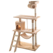 "56"" Cat Tree House Kitty Condo Pet Tower Furniture Scratching Post Toy Beige"