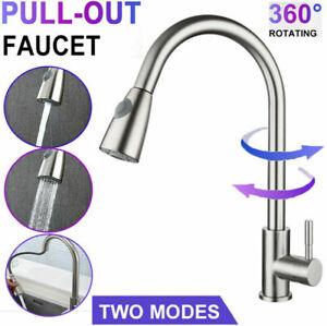 360° Stainless Steel 304 Modern Kitchen Sink Mixer Taps Pull Out Spray Mono Tap