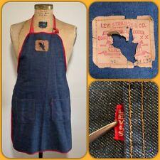 Original Vtg Levis Big E Denim Pocket Work Apron Advertising Chore S/S Jeans 60s