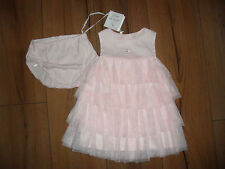 DESIGNER EMILE ET ROSE BABY GIRL PINK COTTON TULLE PARTY DRESS AGE 9 MTHS BNWT