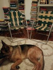 2 Vintage Woven Aluminum Folding Lawn Chair Set Green/Tan