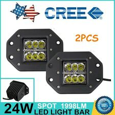 2x Dually Flush Mount 24W CREE Spot LED Pod Work Light Truck Jeep OffRoad 4x4WD