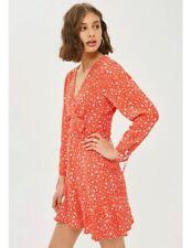 TOPSHOP Womens 12 Red Rocket Man Tea Dress Star Print Long Sleeve Hidden Zip B3