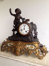 Antique French spelter bronze Clock onyx plaques floral decor 1935
