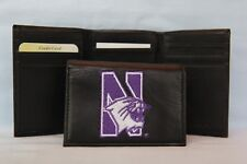 NORTHWESTERN WILDCATS   embroidered  Leather TriFold Wallet    NEW    black
