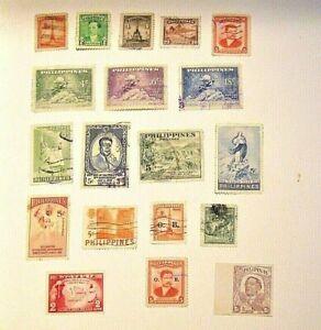 PHILIPPINES, 1943-1955,  Lot of (19) USED & Unused, Hinged Stamps