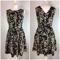 Oasis Skater Dress UK 10 Floral Black Green Peach Short V-Back Fit Flare Lined