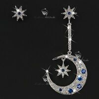 18k white gold gf made with SWAROVSKI crystal moon star fairyland stud earrings