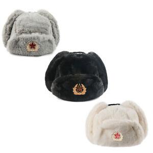 Men's Soviet Badge Warm Trapper Hat Faux Fur Ushanka Cossack Fluffy Flap Cap