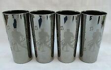 RARE SET 4 E.P.E. ELVIS PRESLEY HIGHBALL GLASSES METALLIC GUNMETAL GRAY GLASS