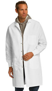New Mens Professional White Lab Coat w/ Elastic Cuffs Red Kap Specialized Cuffed