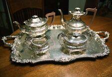 BARKER ELLIS Floral Repousse Silver plate Tea Coffee Service & Tray. Elegant!