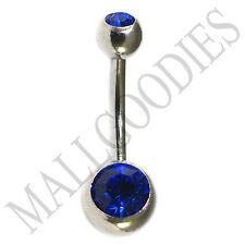 Belly Ring Double Gem Dark Blue 1187 Nickel Free Regular Surgical Steel Naval