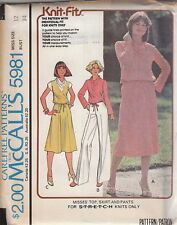 Vintage 70s Uncut Cowl Neck Top Skirt Slacks Pattern 12~McCalls 5981