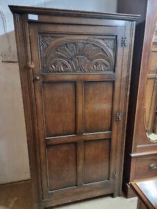 1950's Solid Oak Single Door Wardrobe or hall cupboard