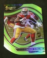 2020 Panini Select Javon Kinlaw Field Level Die Cut Green Prizm RC 49ers Rookie