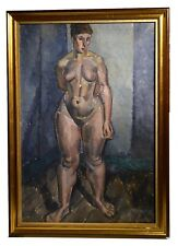 Important 1920 Russian Master Cubistic Nude in Studio Large oil