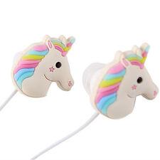 Cute Unicorns Earphones Rainbow Horse In-ear Earphone Earbuds With Mic Gifts