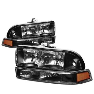 For 98-04 Chevy S-10 Pick Up Black Housing Headlights Turn Signals Upgrade Look