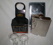 NEW BOXED FAMOUS GROUSE SHOT GLASSES & HIP FLASK FROM THE HIGHLANDER COLLECTION